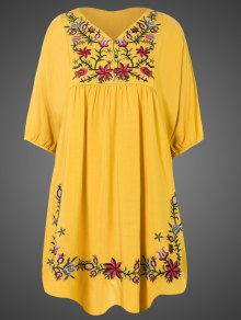 Embroidered Floral Bib Tunic Dress