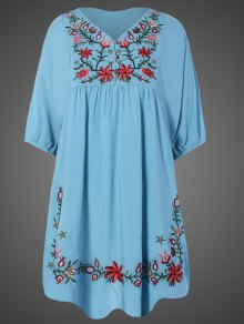 Vestido Túnica Talla Extra Bordado Floral Al Cuello - Azul Claro