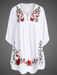 Embroidered Floral Bib Tunic Dress - White
