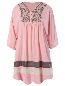 Embroidered Bib Tunic Dress