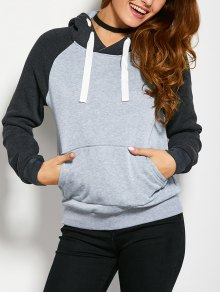 Color Block Hoodie With Front Pocket - Light Grey S