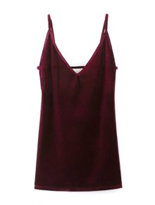 Plunging Neck Pleuche Cami Dress - Burgundy S