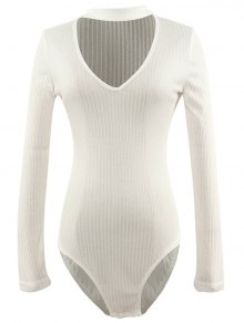 Cut Out Fitted Choker Bodysuit - White S