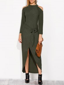 Asymmetric Cold Shoulder Knitted Dress - Blackish Green L