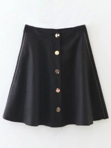 Wool Blend Flounce Mini Skirt - Black M