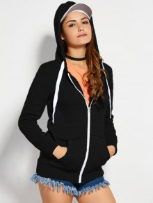 Drawstring Zip Up Hoodie with Pocket