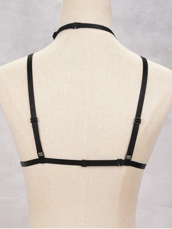Elastic Bra Bondage Harness Body Jewelry - BLACK  Mobile