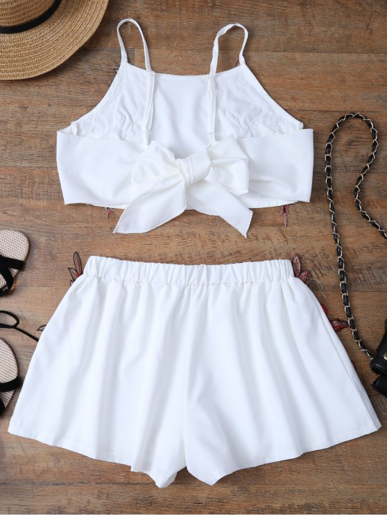 Embroidered Bowknot Top with Shorts - WHITE L Mobile