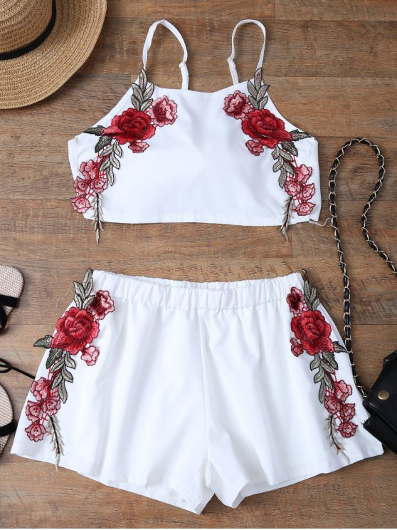 women Embroidered Bowknot Top with Shorts - WHITE M