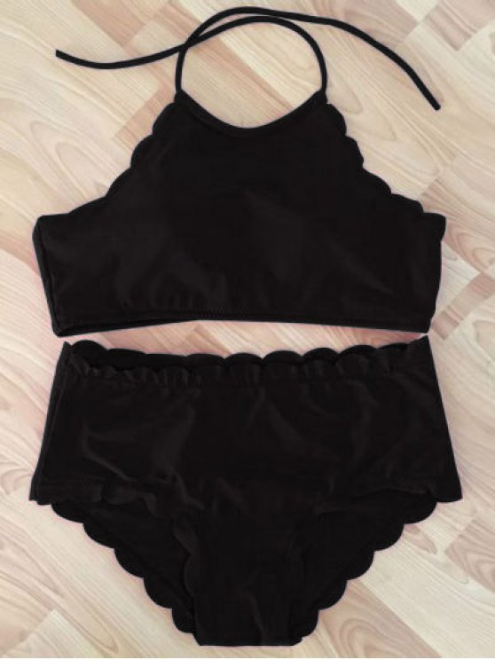 ladies High Neck Scalloped Bikini Set - BLACK L