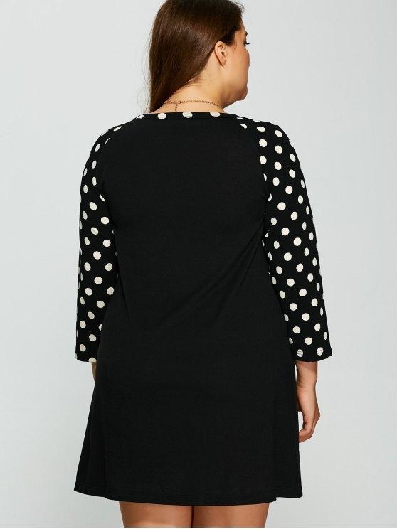 Polka Dot Print Sleeve Plus Size Dress - BLACK 2XL Mobile