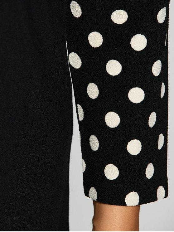 Polka Dot Print Sleeve Plus Size Dress - BLACK 4XL Mobile