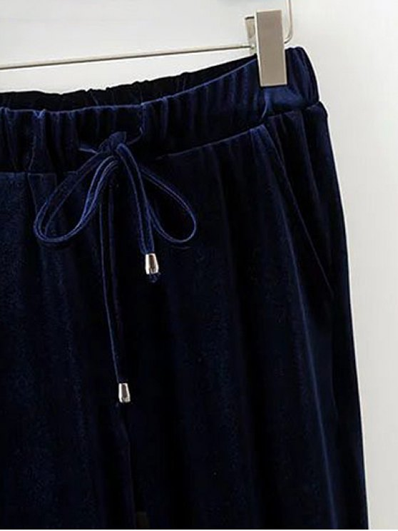 Drawstring Velvet Joggers Pants - CADETBLUE M Mobile