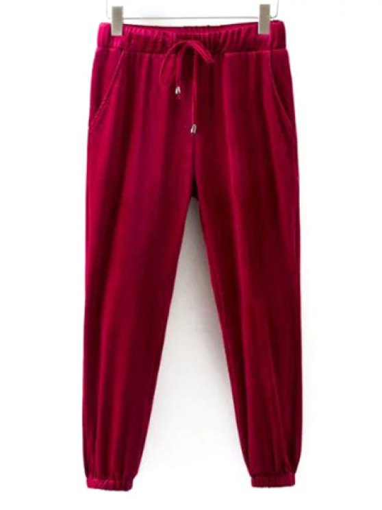 Drawstring Velvet Joggers Pants - RED L Mobile