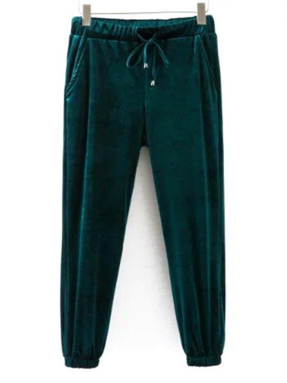 Drawstring Velvet Joggers Pants - GREEN M Mobile