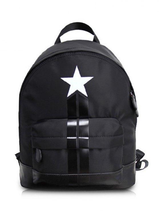 affordable PU Leather Panel Star Print Backpack - BLACK