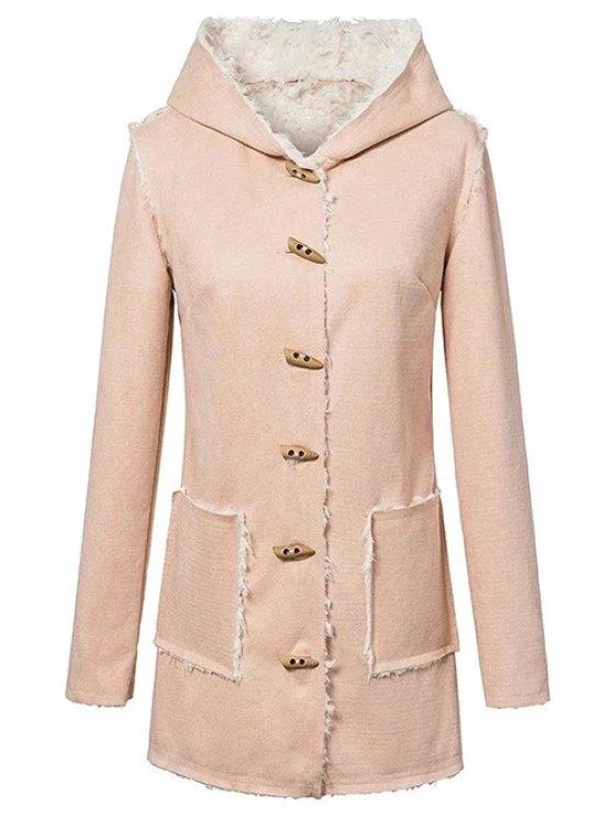 Manteau à capuche en laine mélangée et en suédine synthétique avec boutons en forme de cornes - Carnation L