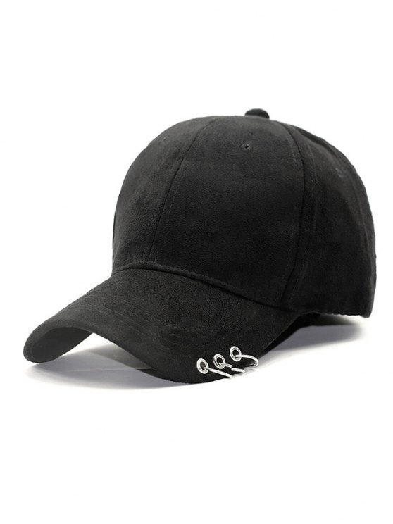 Outdoor Iron Circle Pleuche Baseball Hat - BLACK  Mobile