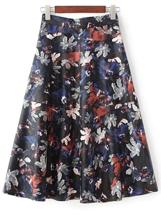 Printed PU Leather Skirt - MULTICOLOR L Mobile