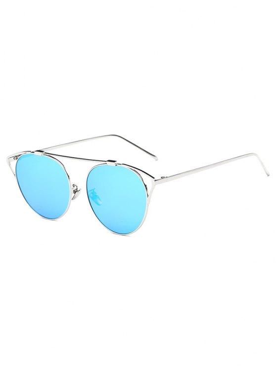 Lunettes de soleil ovales à verres effet miroir creuses de voyage - Bleu Glacé