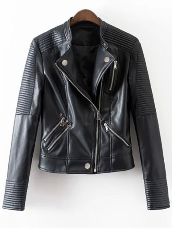 outfit Embossed PU Leather Motocycle Jacket - BLACK XL