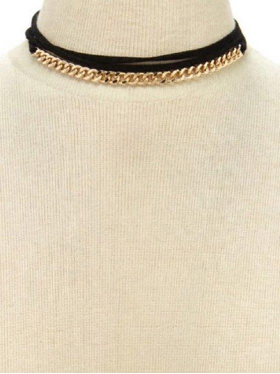 Collier ras du cou de col à franges avec lien à nouer - Or