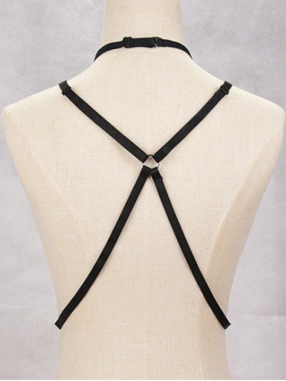 Geometric Bra Bondage Harness Body Jewelry - BLACK  Mobile