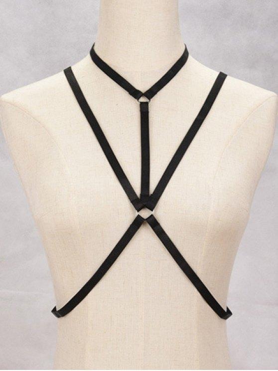 women Geometric Bra Bondage Harness Body Jewelry - BLACK
