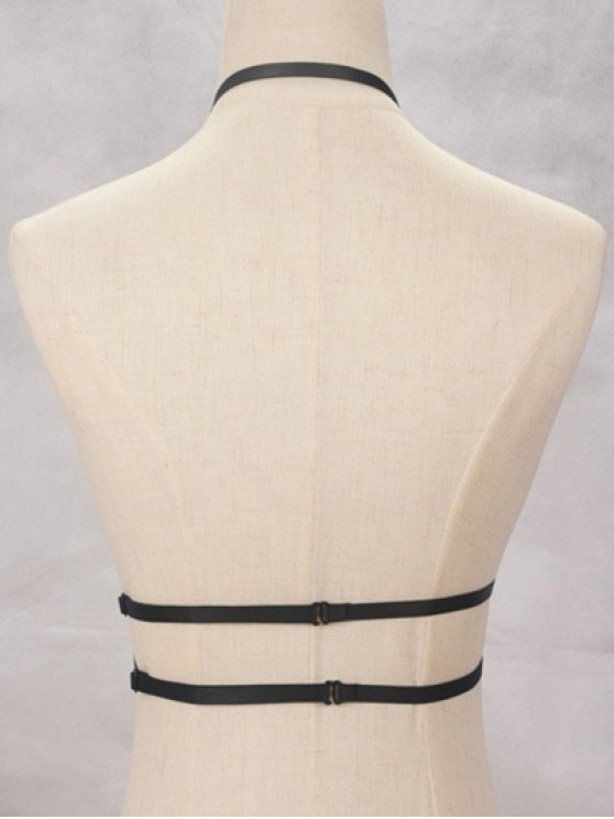 Y Shaped Bra Bondage Harness Body Jewelry - BLACK  Mobile