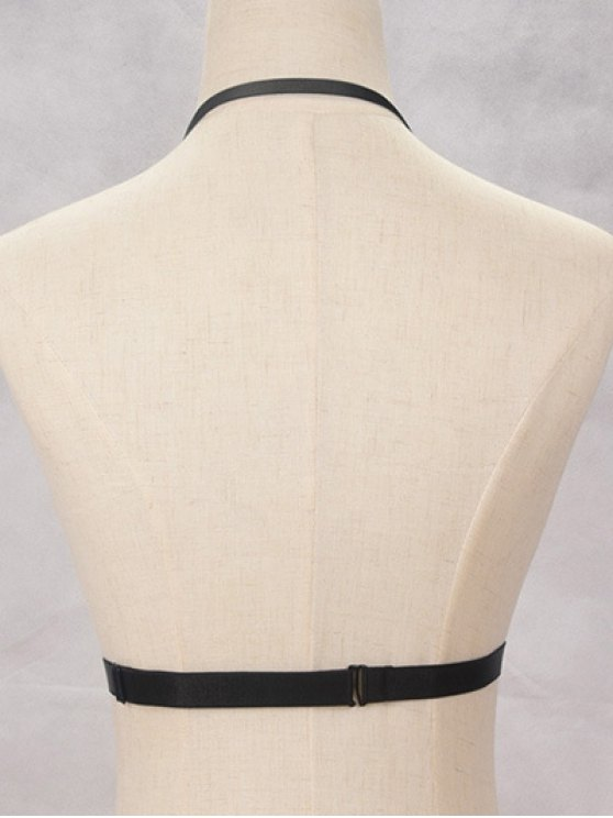Bra Bondage Harness Body Jewelry - BLACK  Mobile