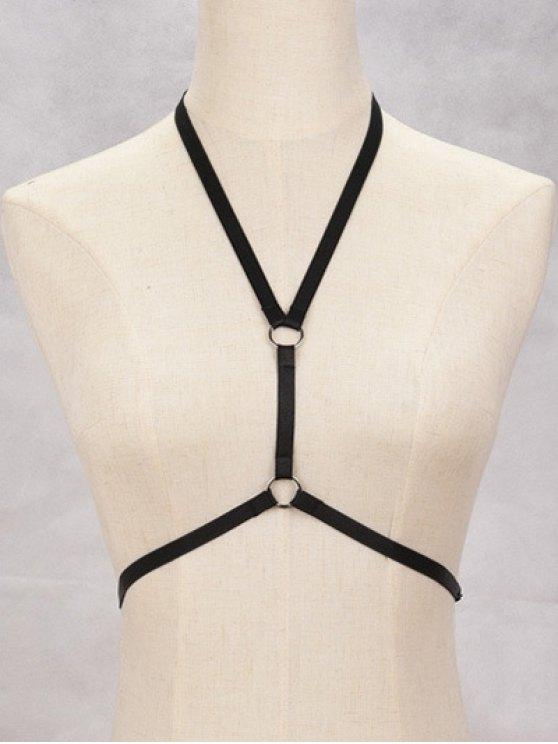 Bijoux de corps bondage soutiens-gorge harnais cercle - Noir