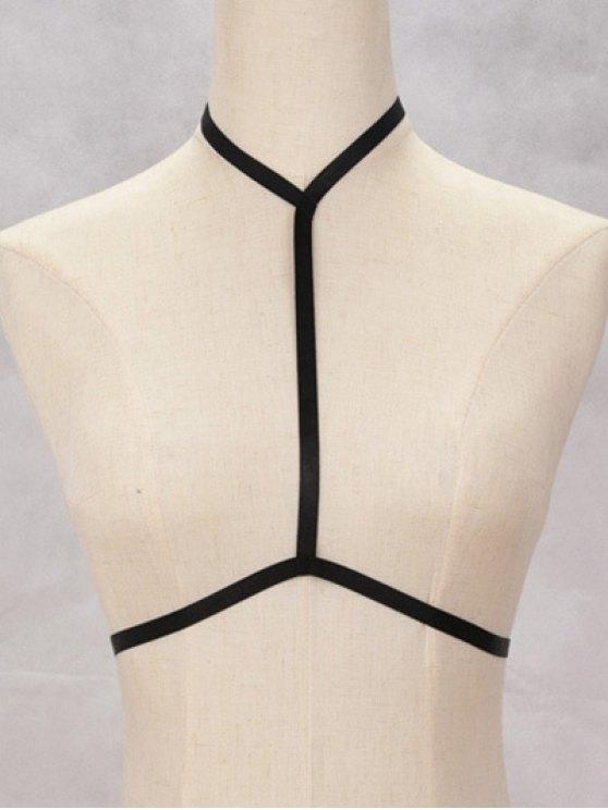 Bra Bondage Harness Hollow Out Body Jewelry - BLACK  Mobile