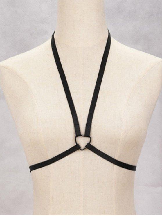shops Heart Bra Bondage Harness Body Jewelry - BLACK