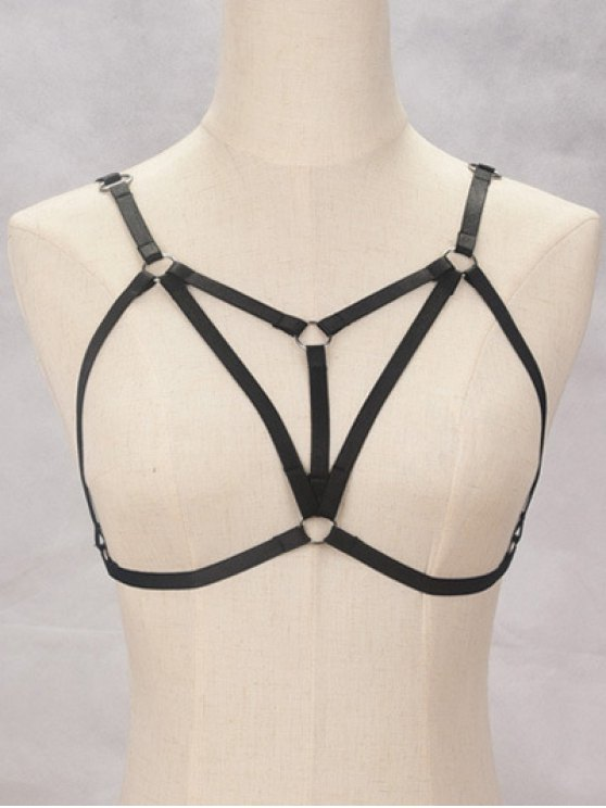 latest Bra Bondage Harness Embellished Body Jewelry - BLACK