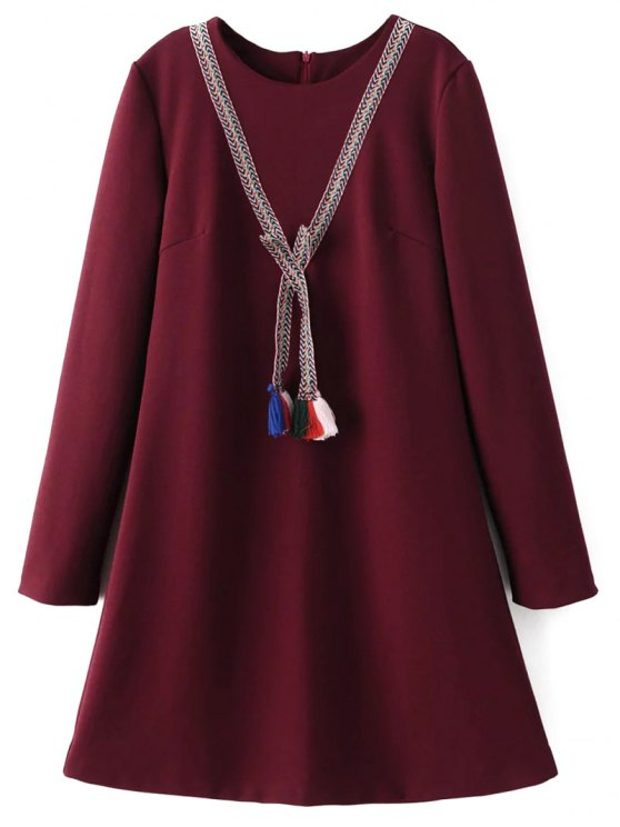 Tasselled Chevron Tunic Dress - BURGUNDY M Mobile