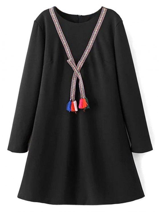 Tasselled Chevron Tunic Dress - BLACK M Mobile
