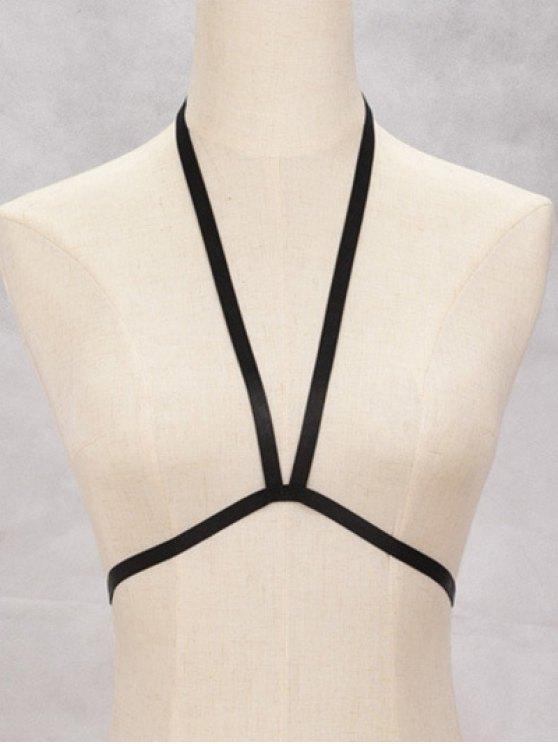 Bra Bondage Harness Elastic Body Jewelry - BLACK  Mobile