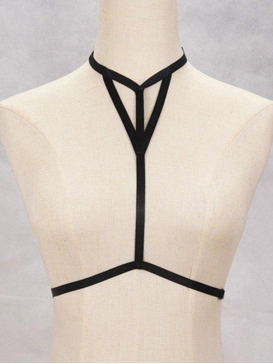 chic Hollowed Bra Bondage Harness Body Jewelry - BLACK