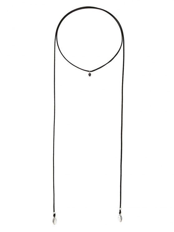Faux Gem Choker Drawstring Sweater Chain - BLACK  Mobile