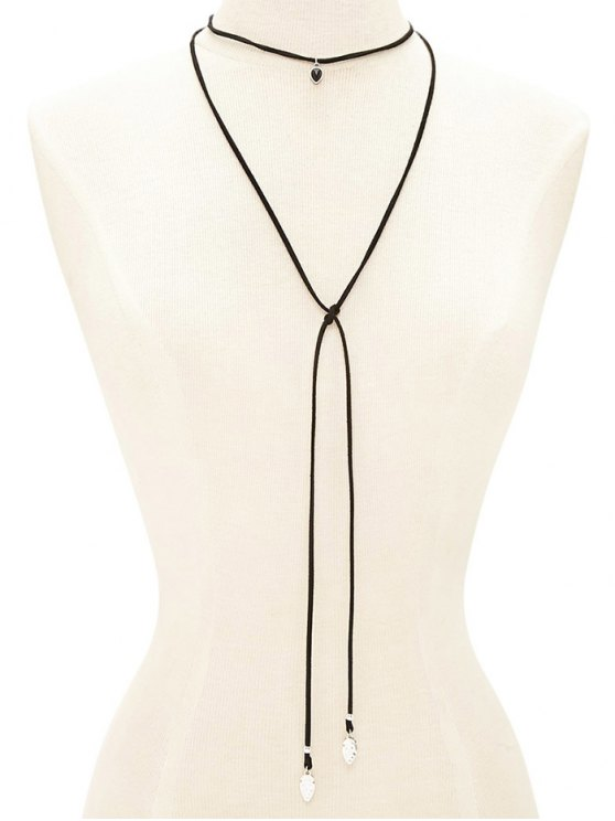 shop Faux Gem Choker Drawstring Sweater Chain - BLACK