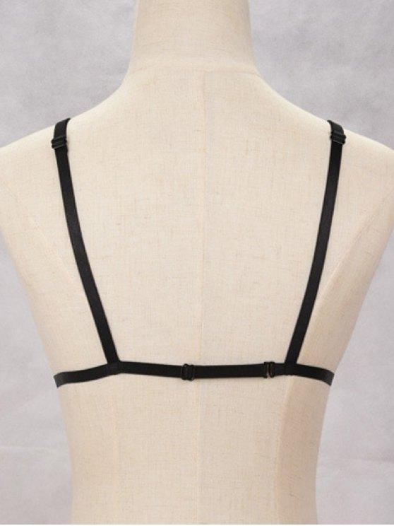 Bra Bondage Harness Hollowed Body Jewelry - BLACK  Mobile