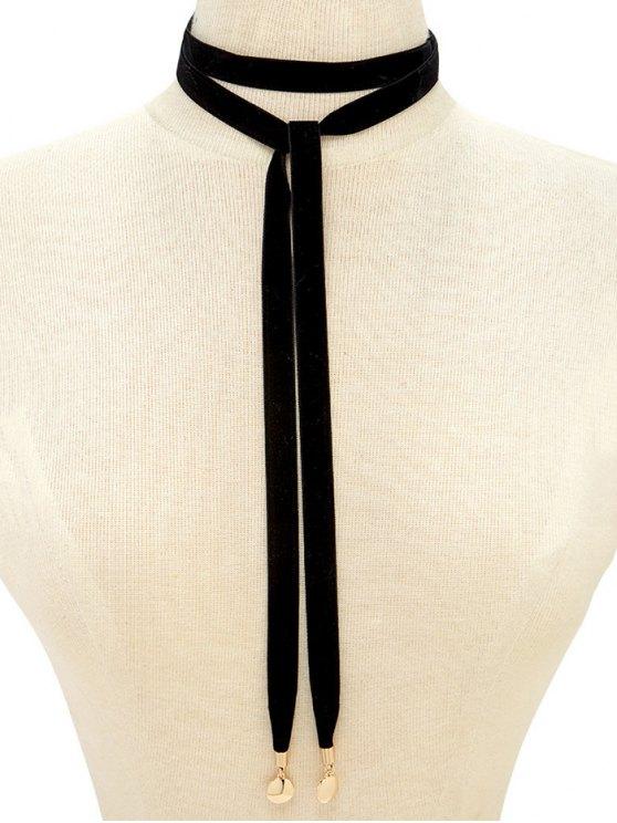 Choker Velvet Drawstring Sweater Chain - BLACK  Mobile