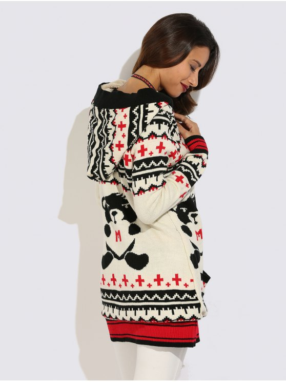 Graphic Geometric Knit Graphic Cardigan - WHITE XL Mobile