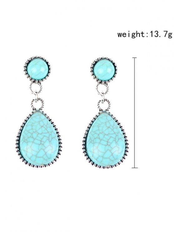 Bohemian Faux Turquoise Water Drop Earrings - WINDSOR BLUE  Mobile
