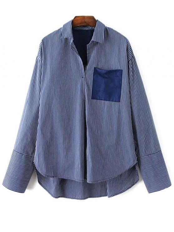 Patch Pocket Striped Blouse - CADETBLUE S Mobile
