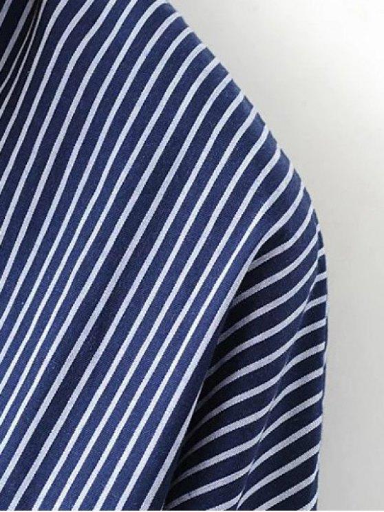 Patch Pocket Striped Blouse - CADETBLUE L Mobile