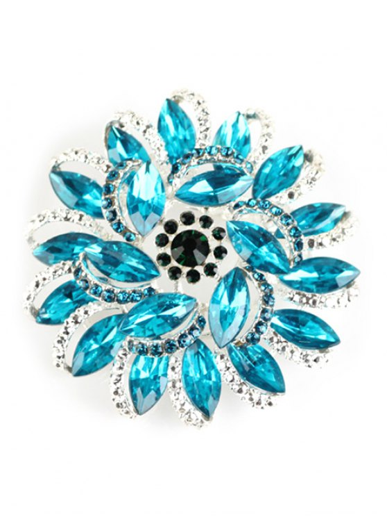 fashion Flower Rhinestone Brooch - BLUE