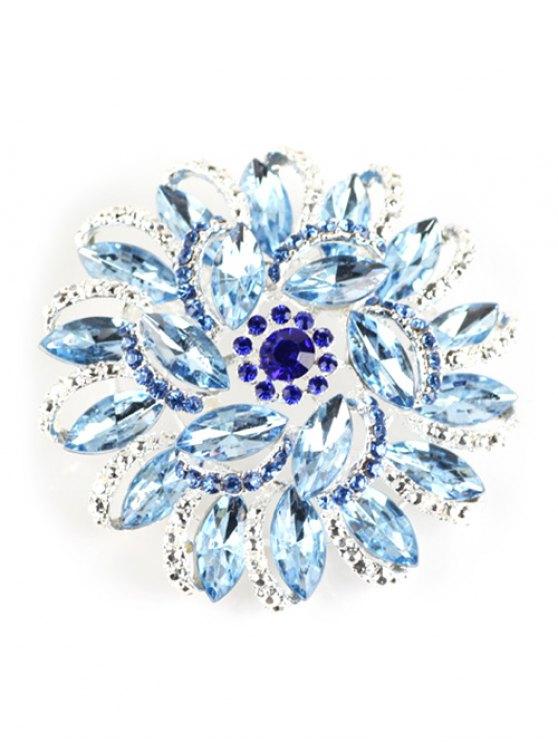 chic Flower Rhinestone Brooch - AZURE