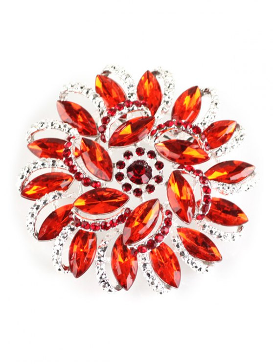 Flower Rhinestone Brooch - RED  Mobile