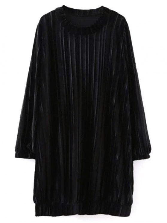 shops Elastic Hemline Relaxed Velvet Dress - BLACK M